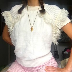 🐑 BCBGMaxAzria Fringe Sweater